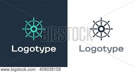Logotype Ship Steering Wheel Icon Isolated On White Background. Logo Design Template Element. Vector