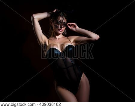 Sexy Bunny Woman. Sensual Blonde Girl With Lace Mask