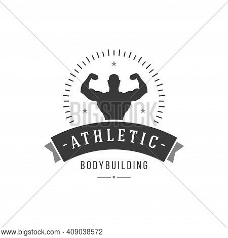 Bodybuilding Center Vector Logo. Male Muscled Silhouette With Powerful Biceps Symbol Of Healthy Spor