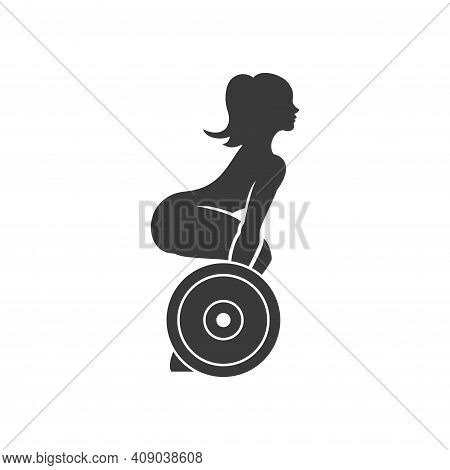 Slender Woman Lifts Barbell Vector Logo Silhouette.