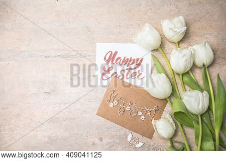 White  Tulips, Happy Easter Cards On Gray Background. Top View Flat Lay. Happy Easter Concept. Sprin