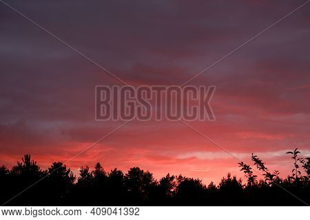 Beautiful Crimson Sunset. Cloudy Background In Red Colors.