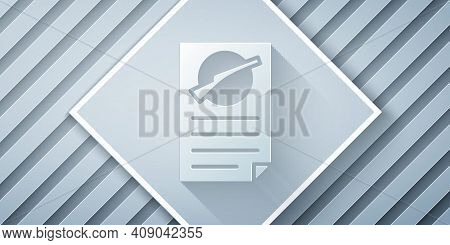 Paper Cut Firearms License Certificate Icon Isolated On Grey Background. Weapon Permit. Paper Art St