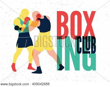 Boxing Club And Martial Arts Sport Fight Vintage Poster Design. Two Boxers Are Fighting. Vector Illu