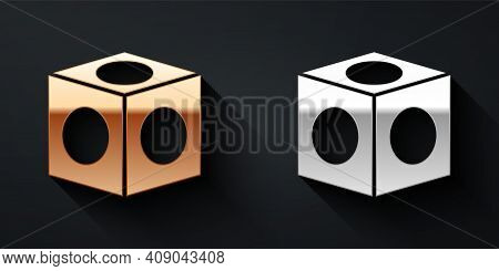 Gold And Silver Billiard Chalk Icon Isolated On Black Background. Chalk Block For Billiard Cue. Long
