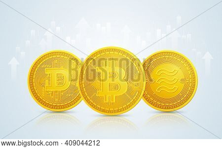 The Golden Coin Of Bitcoin, Dogecoin And Libra Coin In Cryptocurrency Technology With Stock Market E