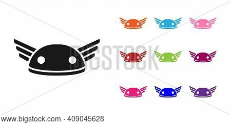 Black Helmet With Wings Icon Isolated On White Background. Greek God Hermes. Set Icons Colorful. Vec