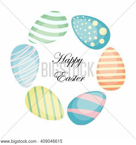 Easter Wreath With Hand Drawn Colored Easter Eggs Isolated On White Background. Decorative Doodle Fr