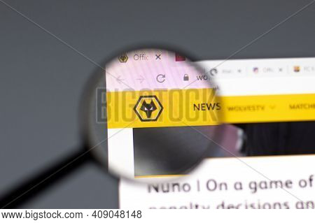 New York, Usa - 15 February 2021: Wolverhampton Wanderers Website In Browser With Company Logo, Illu