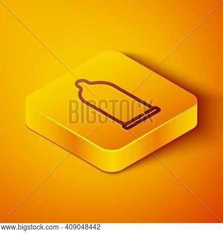 Isometric Line Condom Safe Sex Icon Isolated On Orange Background. Safe Love Symbol. Contraceptive M