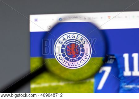 New York, Usa - 15 February 2021: Rangers Fc Website In Browser With Company Logo, Illustrative Edit
