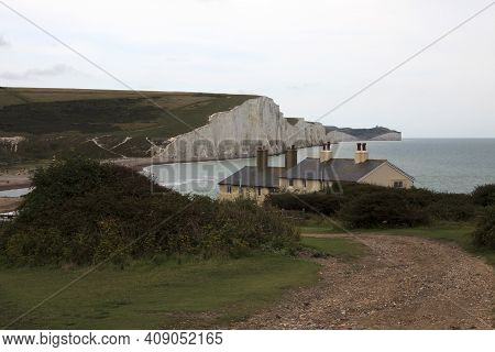 Sussex (england), Uk - August 23, 2015: Sussex Coast And Seven Sisters Area Cliffs, England, United