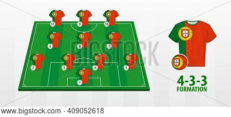 Portugal National Football Team Formation On Football Field. Half Green Field With Soccer Jerseys Of