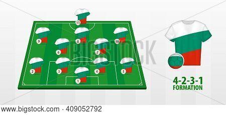 Bulgaria National Football Team Formation On Football Field. Half Green Field With Soccer Jerseys Of