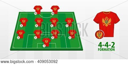 Montenegro National Football Team Formation On Football Field. Half Green Field With Soccer Jerseys