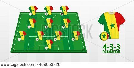 Senegal National Football Team Formation On Football Field. Half Green Field With Soccer Jerseys Of