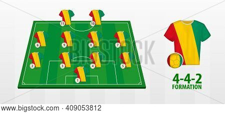 Guinea National Football Team Formation On Football Field. Half Green Field With Soccer Jerseys Of G