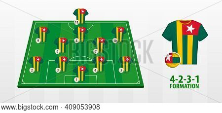 Togo National Football Team Formation On Football Field. Half Green Field With Soccer Jerseys Of Tog