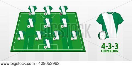 Nigeria National Football Team Formation On Football Field. Half Green Field With Soccer Jerseys Of