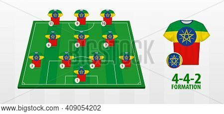 Ethiopia National Football Team Formation On Football Field. Half Green Field With Soccer Jerseys Of
