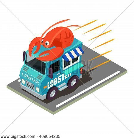 Seafood Delivery Icon. Isometric Illustration Of Seafood Delivery Vector Icon For Web