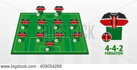 Kenya National Football Team Formation On Football Field. Half Green Field With Soccer Jerseys Of Ke