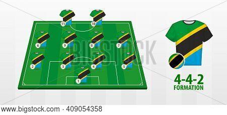 Tanzania National Football Team Formation On Football Field. Half Green Field With Soccer Jerseys Of