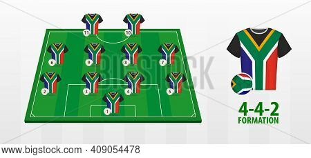 South Africa National Football Team Formation On Football Field. Half Green Field With Soccer Jersey
