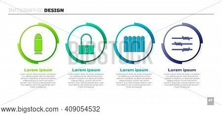 Set Bullet, Lock, Garden Fence Wooden And Barbed Wire. Business Infographic Template. Vector