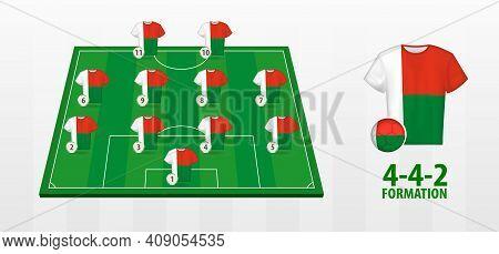 Madagascar National Football Team Formation On Football Field. Half Green Field With Soccer Jerseys