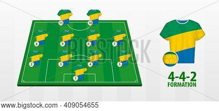 Gabon National Football Team Formation On Football Field. Half Green Field With Soccer Jerseys Of Ga