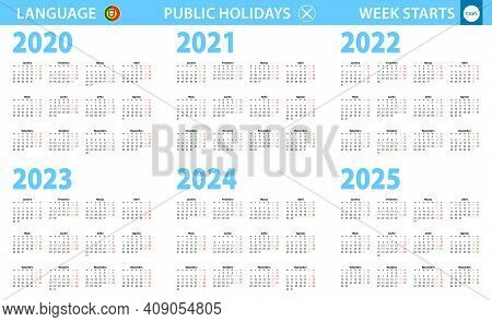 Calendar In Portuguese Language For Year 2020, 2021, 2022, 2023, 2024, 2025. Week Starts From Monday