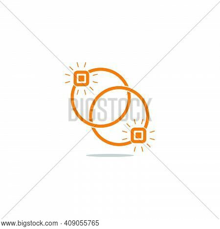 Golden Rings Connection Shadow Decoration Vector Unique Unusual Brand Identity Fashion Decoration Co