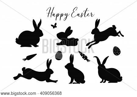 Easter Bunny Silhouettes Set. Happy Easter. Cute Spring Bunnies With Butterfly, Eggs, Carrots And Te