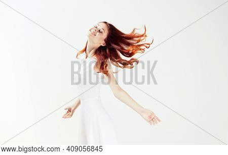 Pretty Woman In White Dress Red Hair Glamor Movement