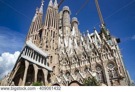 Spain, Barcelona, September, 2020: Sagrada Familia Temple A Famous Architectural Landmark Designed B