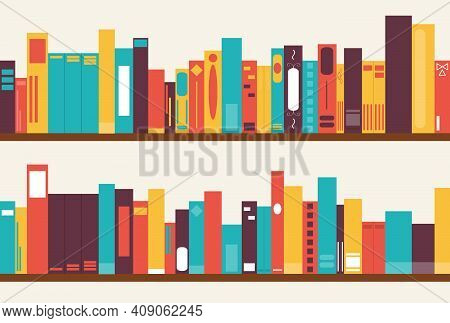 Shelf With Books. Two Large Shelves With Books. Vector, Cartoon Illustration. Vector.