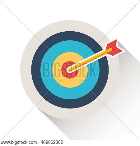 Darts, Dart Circle With Long Shadow. Vector, Cartoon Illustration. Vector.