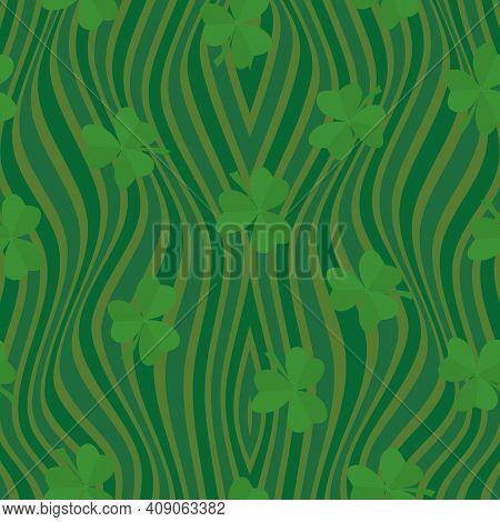 Clover Leaf Seamless Pattern Vector Illustration. Symbol Of St. Patrick S Day, Irish Happy Shamrock