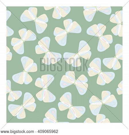 Seamless Vector Pattern With Butterflies On A Blue Background. Suitable For Material, Textile, Scree