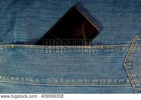 Mobile Phone Or Smartphone In Jeans Pocket