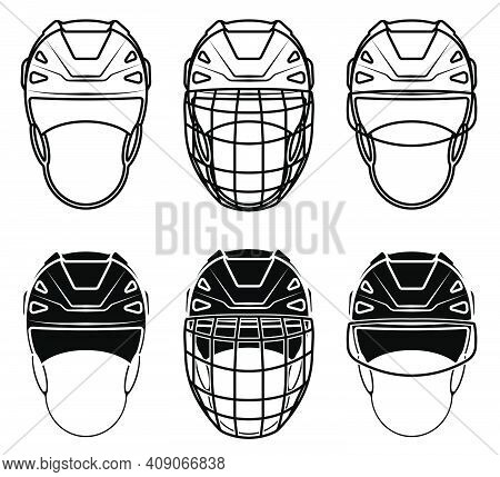 Open Hockey Helmet Icon Front View, With Transparent Visor And With Protective Grill. Ice Hockey Fie