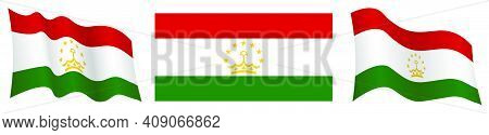 Flag Of Tajikistan In Static Position And In Motion, Fluttering In Wind In Exact Colors And Sizes, O