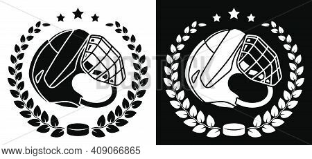 Symbol, Emblem Of Open Hockey Helmet And Black Rubber Puck In Laurel Wreath For Ice Hockey Competiti