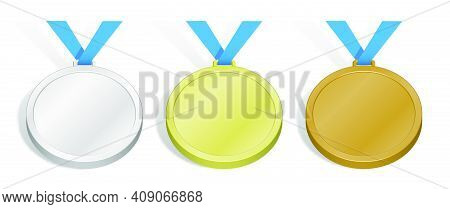 Set Of Sports Medals. Templates, Layouts For Sports Design Decoration. Gold, Silver And Bronze Award