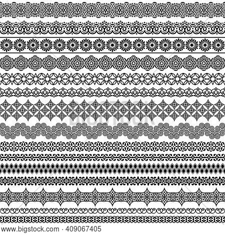 Vector Set Of Fancy Seamless Brushes In Oriental Motifs. For Frames, Boarders, Braid, Edging In The