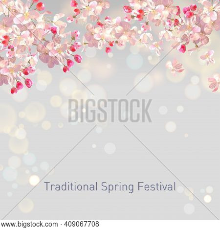 Spring Blossom Background With Plum Or Cherry Blossom