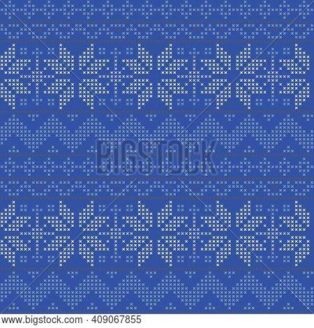 Vector Cross Stitch Scandinavia Seamless Pattern Print Background.