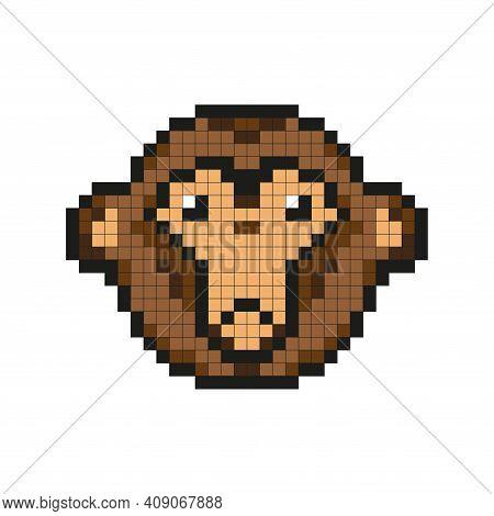 Pixel Monkey. The Monkey's Head. Simple Flat Vector Illustration.