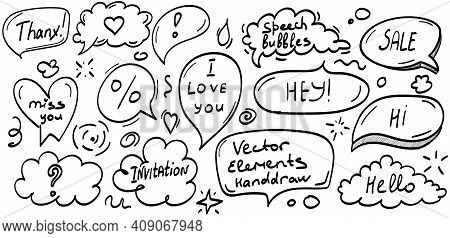 Set Hand Drawn Thought And Talk Speech Speech Bubbles With Love Message, Greetings And Sale Announce